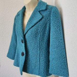 CAbi Teal Size 4 Boucle Wool Blend Jacket